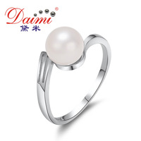 DAIMI Casual Ring Natural 7-8mm Round Freshwater Pearl Wedding Ring For Lady Free Shipping