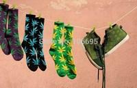 16pcs/lot cotton sock Weed Unisex Plantlife Socks Cannabis Marijuana Style Sockings Long Skateboarding 2014 New leaf  RU888