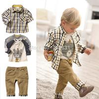 DJ120 Free shipping,1set Retail top quality children clothing set boy's plaid 3 pcs set overshirt+tees+pants autumn baby wear