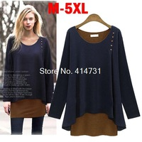 5XL Plus Size Fat MM Clothes 2014 Autumn Winter New Arrival Europe Female T-shirt Faux Two Piece Long Sleeve Blouse Cotton Shirt