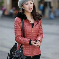 GOOD Quality Fashion Lady Warm Clothing BIG Size L-4XL PU Leather Down Jackets 2014 Women Winter Padded Coat