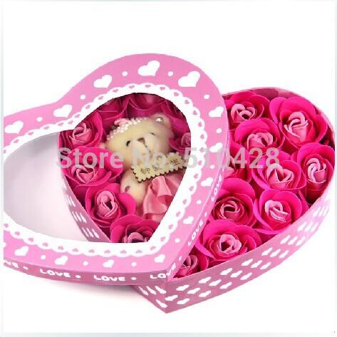 Urso grátis frete subiu caixa de sabão flor simulação / flor Artificial Lover Boy menina presente de aniversário dia dos namorados(China (Mainland))