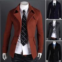 Fashion elegant 2014 male fashion casual woolen slim single breasted epaulette wadded jacket outerwear