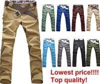 FreeShipping Mens slim Leisure Pants full length,Mens Pants Casual ,100%cotton,10color,Size:M-XXL,100%guarantee ,dropshippingLP1