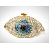 2014 Big Eye Shaped Gold Crystal Clutch Evening Bag Handcraft Bag S08171