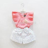 New 2014 Children Clothing Sets Baby Girls' Sleeveless Clothing Set Fashion Girls Clothing Sets Summer Kids Clothes Child Wear