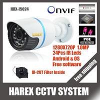 1280*720P 1.0MP ONVIF 2.0 Waterproof Outdoor IR CUT Night Vision P2P Plug and Play Mini Bullet POE IP Camera, free shipping