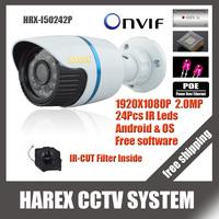 1920*1080P 2MP ONVIF 2.0 Waterproof Outdoor IR CUT Night Vision P2P Plug and Play Mini Bullet POE IP Camera, free shipping