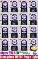 HOT SELL 16pcs/lot 18*3W Mini Moving Head Light 54W RGB Color Mixing Led Moving Head Wash Light 90V-240V High Quality DJ Light