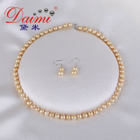 DAIMI Champagne Color Pearl Jewelry Sets ,Necklace & Earrings Natural Freshwater Pearl Gift for Women