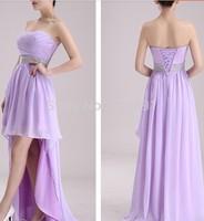 Best Sale 2014 Crystal Sashes Sleeveless Pleat Chiffon Short Front Long Back Bandage D144 Bridesmaid Dresses