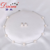 DAIMI Cute Style Natural Freshwater Pearl Necklace Pearl Tin Cup necklaces & Earrings Free Shipping