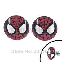 Free Shipping! Enamel Big Spiderman Mask Earring Stainless Steel Jewelry Fashion Motor Biker Earrings SJE370068L Diameter 16mm