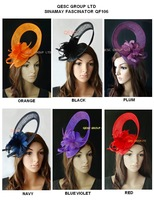 New design Sinamay Fascinator hat w/feather for Melbourne cup,kentucky derby wedding races church.blue,orange,plum,black