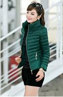 2014 Winter New Female Fshio Slim Short Full-Sleeve Zippers O-Neck Cotton-Padded Coat  XFF022