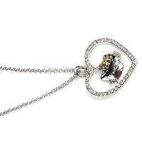 1PCS Heart Women Jewelry Long Necklace Hello Kitty Necklace Rhinestone Pendant Necklace