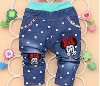 Free Shipping 2014 New Autumn Soft Cartoon Flora Bow Mid Waist Baby Girls Jeans C19