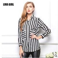2014 Spring and autumn women's lapel temperament  thin loose long-sleeved striped shirt female pocket chiffon sheer blouse shirt