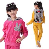 2014 new autumn fall winter children's clothing cartoon bunny velvet leisure suit sports set 6-14