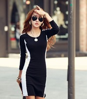 Dresses Women Knitting Cotton Dresses Korea Style Slim Winter Dress Black And White Patchwork Dresses Casual