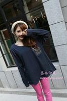 Women Plus Size 4XL,6XL Long Sleeve Blue Striped Batwing Tshirt Free Shipping a010102