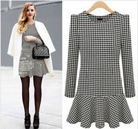 New  winter Women's dress casual vestidos chiffon plus size novelty vestido festa office Plover grid dresses atacado roupas