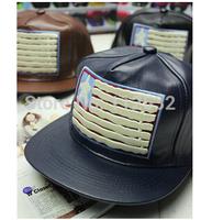 Korean stars stripes American flag embroidered leather flat along hip-hop cap baseball  hat men and women fashion caps