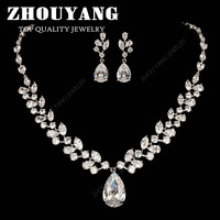 ZYS305 Luxurious Wedding  Platinum White Gold Plated Jewelry Necklace Earrings Set Rhinestone Made with Austrian  Crystals