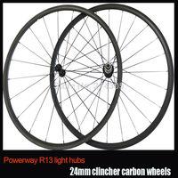 24mm clincher powerway R13 hub carbon road bike wheels 700c full carbon ultra light wheelset carbon bicycle wheels
