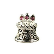 Min order $10 free shipping Fashion European Birthday Cake 925 Silver Bead Charm with pink crystal Fit Bracelets & Bangles H532
