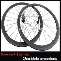 Powerway R13 hub 23mm Width 38mm tubular carbon road bike wheelet,700c carbon fiber bicycle wheels front 20 rear 24