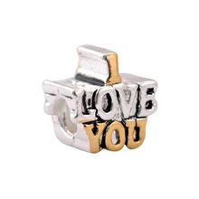 Min order $10 free shipping 925 silver bead Amazing Alloy Bead I Love You Letter Bead Fit Bracelets & Bangles Necklace H506