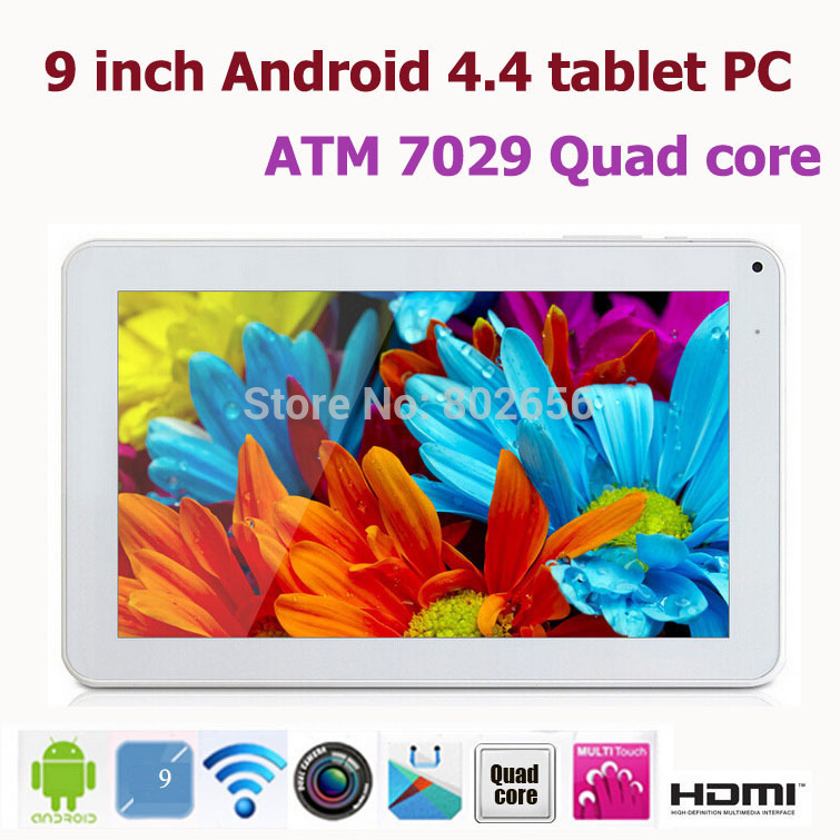9 inch ATM7029 Tablet pc Quad core HDMI Flashlight Bluetooth Android 4.4 Dual Camera 512M/8G WIFI Big discount!! Hot sell!!(China (Mainland))