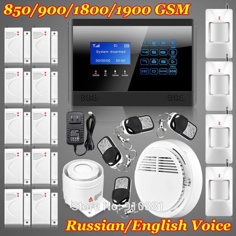 New 14 zones Touch Keypad Wireless GSM remote control Quad4 Band Smoke House Intruder Voice Home security Presence sensor Alarm(China (Mainland))