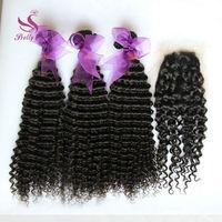 Peruvian Deep Wave With Closure Unprocessed Peruvian Curly Virgin Hair 3 Bundles Add 1Pcs Silk Lace Closures Rosa Hair Products