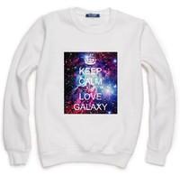 KEEP CALM LOVE GALAXY Print Sweatshirt For Women Men Casual Hoody Pullover Spring Autumn XL ZY053-35