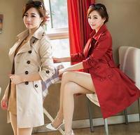 Plus Size S-XXXL Free Shipping 2014 New Korean Fashion Autumn Women Elegant Slim Double Breasted Trench Coat Casual Outerwear