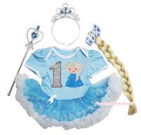 Frozen Costume Birthday Princess Elsa 1ST Bodysuit Organza Baby Dress NB-18M JS3324