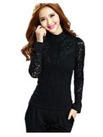 Free Shipping 2014  Autumn Winter Girls Fashion Lace Shirt ,female long-sleeved Korean high- collar lace Blouse Big size S-4xl