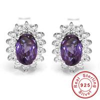 Luxury Princess Diana William Engagement Wedding Alexandrite Sapphire Stud Earrings Set Solid 925 Sterling Silver