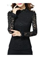 Spring Autumn Girls 2015 Slim thin  long sleeve lace shirt , big Size  hollow  Ladies Quality Lace Blouses M L XL 2XL 3XL 4XL