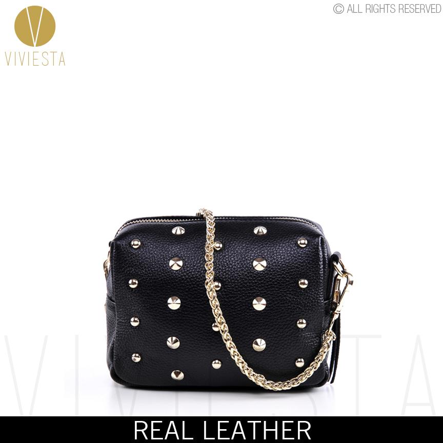 AliExpress.com Product - REAL GENUINE LEATHER STUDDED CROSSBODY CHAIN BAG - Women's Vintage Small Black Rivet Spike Stud Crossbody Shoulder Purse Handbag