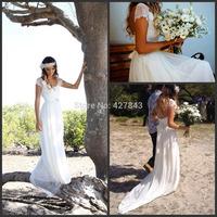 Simple Chiffon Lace Cap Sleeves Bohemian Wedding Dress with Sash Crystal Beadings Ivory White Boho Wedding Gown 2014