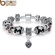 Bamoer High Quality European Tibetan Silver Beads Bracelets & Bangles with Heart Charm for Women DIY Jewelry PA1034(China (Mainland))