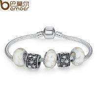 Bamoer European Style Strand Bracelets Bangle for Female With White Murano Glass Beads Bag Charm DIY Jewelry PA1374