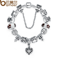 Bamoer Luxury Silver Charm Bracelet for Women With High Quality Murano Glass Beads DIY Christmas Gift PA1801