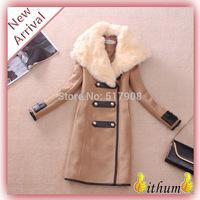 casacos femininos 2014 winter coat women Woollen Coat Desigual Real Rabbit Fur Coat female Women Coat Overcoat Plus Size XXXL