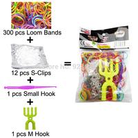 20 Packs/lot Colorful Loom Bands Kit Rubber Loom Bands Set Bracelet (300 Bands + 12 S-Clips + 1 Small Hook + 1 M Hook) (LB-04)