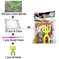 300 Packs/lot Colorful Loom Bands Kit Rubber Loom Bands Set Bracelet (300 Bands + 12 S-Clips + 1 Small Hook + 1 M Hook) (LB-04)