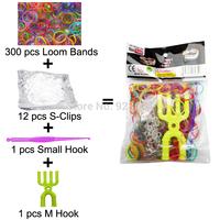 500 Packs/lot Colorful Loom Bands Kit Rubber Loom Bands Set Bracelet (300 Bands + 12 S-Clips + 1 Small Hook + 1 M Hook) (LB-04)